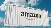 Амазонка : Container with Amazon logo transportation. Editorial animation