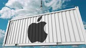 supplies : Loading cargo container with Apple Inc. logo. Editorial 3D animation