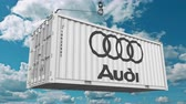 ithalat : Loading container with Audi logo. Editorial animation Stok Video