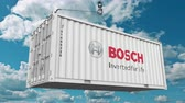 supplies : Loading cargo container with Bosch logo. Editorial 3D animation