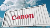 cargo container : Container with Canon logo. Editorial 3D animation