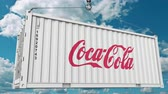 ithalat : Coca-Cola logo on a container. Editorial animation