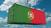 guindastes : Loading cargo container with flag of Portugal. Portuguese import or export related conceptual 3D animation