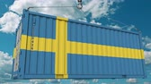 шведский : Cargo container with flag of Sweden. Swedish import or export related conceptual 3D animation