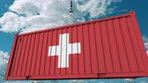 szállít : Container with flag of Switzerland. Swiss import or export related conceptual 3D animation