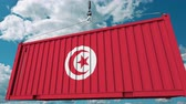 tunisian flag : Loading container with flag of Tunisia. Tunisian import or export related conceptual 3D animation