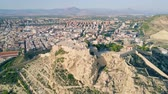 alicante : Aerial view of Santa Barbara castle in Alicante, Spain Stock Footage