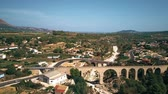 hilly : Aerial shot of arched bridges in Spain