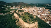 overview : Aerial shot of ancient Corbera Castle, Spain Stock Footage