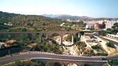 hilly : Aerial shot of bridges and dried river in Andalusia, Spain Stock Footage