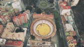 вид сверху : Aerial view of Plaza de toros de La Malagueta or historic Malaga bullring, Spain Стоковые видеозаписи