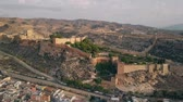 overview : Aerial shot of ancient Alcazaba of Almeria, a fortress in southern Spain