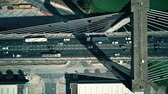 через : Aerial top-down view of modern cable-stayed bridge traffic