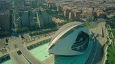 palau : VALENCIA, SPAIN - SEPTEMBER 22, 2018. Aerial shot of El Palau de les Arts Reina Sofia, the City of Arts and Sciences Stock Footage