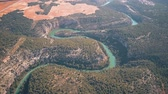 riverbank : Aerial view of the mountainous Jucar river in Spain