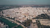 rooftop : Aerial establishing shot of Seville, Spain Stock Footage