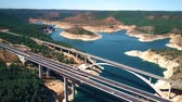 bridge across the river : Aerial view of Viaducto de Contreras, expressway bridge in Spain
