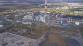 kömür : Aerial view of a coal power plant outside Poznan, Poland