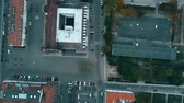 sloping : Aerial top down view of a small German town streets Stock Footage