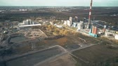 район : Aerial view of coal power plant and industrial area outside Poznan, Poland