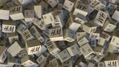 製品 : H&M logo on piled cartons. Editorial animation