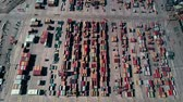 クレーン : Busy seaport container terminal traffic, aerial view