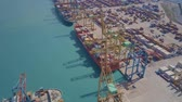 nautical equipment : VALENCIA, SPAIN - OCTOBER 2, 2018. Aerial view of big port container terminal