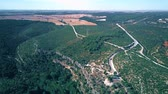 overview : Aerial shot of the Jucar river canyon and car road in Spain Stock Footage