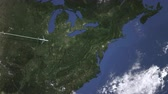 philadelphie : Route of a commercial plane to Philadelphia, United states from west. Intro 3D animation