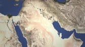 chegar : Airplane heading to Kuwait city, Kuwait from west on the map. Intro 3D animation Stock Footage