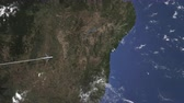 salvador : Airplane flying to Salvador, Brazil from west. Intro 3D animation