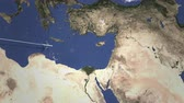 viagens de negócios : Airplane flying to Beirut, Lebanon on the map. Intro 3D animation Vídeos