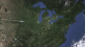 flight ticket : Plane arriving to Cleveland, United States from west, intro 3D animation
