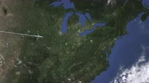 pittsburgh : Route of a commercial plane flying to Pittsburgh, United States on the map. Intro 3D animation Stock Footage