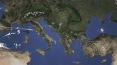 viagens de negócios : Airplane flying to Sofia, Bulgaria on the map. Intro 3D animation