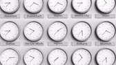 业务 : Clock shows Algiers, Algeria time among different timezones. 3D animation