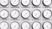 utc : Clock shows Anchorage, USA time among different timezones. 3D animation Stock Footage
