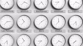 minuto : Clock shows Bern, Switzerland time among different timezones. 3D animation