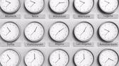 utc : Focus on the clock showing Bogota, Colombia time. 3D animation Stock Footage
