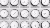 monocromático : Clock shows Brasilia, Brazil time among different timezones. 3D animation Stock Footage