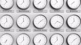 utc : Clock shows Buenos Aires, Argentina time among different timezones. 3D animation Stock Footage