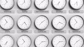 utc : Focus on the clock showing Caracas, Venezuela time. 3D animation Stock Footage