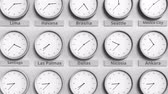 utc : Clock shows Dallas, USA time among different timezones. 3D animation
