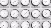 monocromático : Focus on the clock showing Houston, USA time. 3D animation