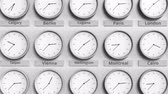utc : Clock shows Wellington, New Zealand time among different timezones. 3D animation Stock Footage
