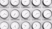monocromático : Clock shows Tunis, Tunisia time among different timezones. 3D animation