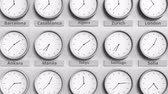 utc : Clock shows Tokyo, Japan time among different timezones. 3D animation