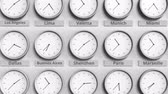 utc : Round clock showing Shenzhen, China time within world time zones. 3D animation Stock Footage