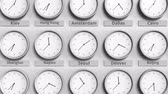 utc : Clock shows Seoul, Korea time among different timezones. 3D animation Stock Footage