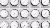 horas : Round clock showing San francisco, USA time within world time zones. 3D animation Stock Footage
